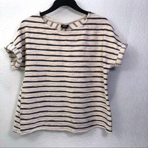 Bobeau Striped Boxy Knit Top